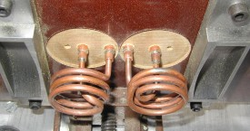 <b> Heating of parts</b>:   Appropriately shaped inductor for heating parts of the product.