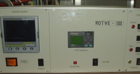 <b> Electic module</b>:   Main box contains: MF generator with temperature controller for induction furnace, position control of measured head and circuits for measuring of electric conductivity.