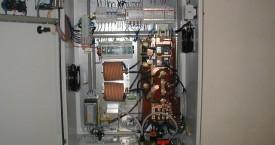 <b> Generator</b>:   Look into an opened box of switchboard generator setup.