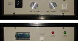 <b> Kontrolní panel</b>:  Ovládací a indikační prvky. Ovládání teploty a pojezdu (velikost kyvu a jeho rychlost).